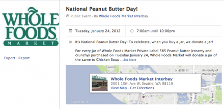Whole Foods Facebook Page - Peanut Butter Challenge