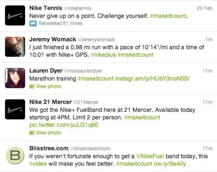 Nike Twitter Feed #MakeItCount